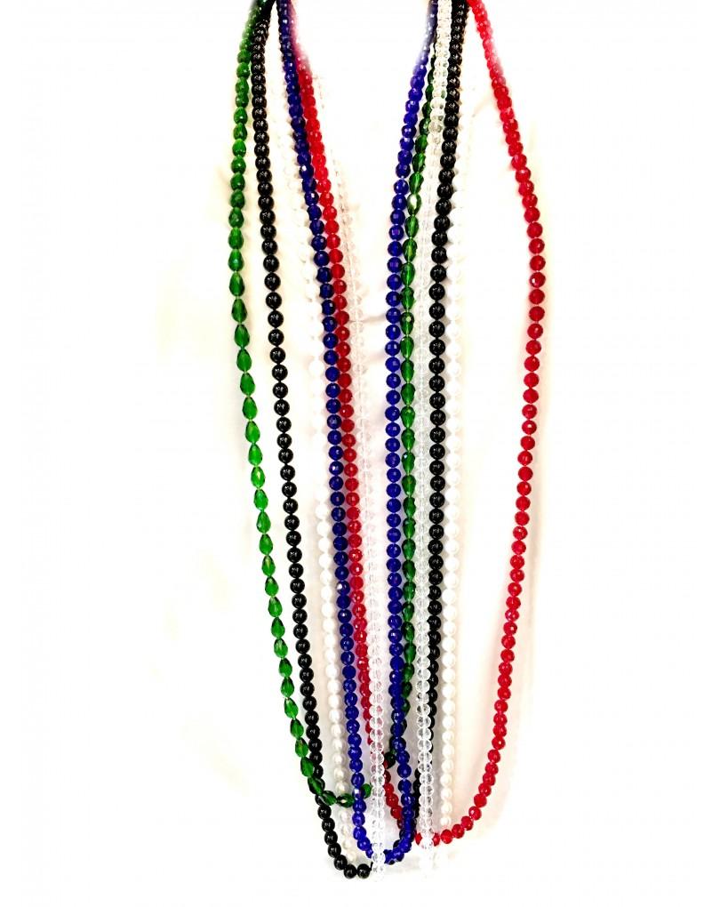 collares largos de cristal en todos los colores