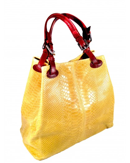 BOLSO PIEL COLOR AMARILLO ESCAMA DE SERPIENTE, MEDIADAS:35**30*15