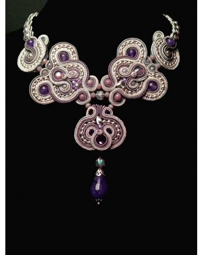 GARGANTILLA EXCLUSIVA SOUTACHE PLATA AMATISTA