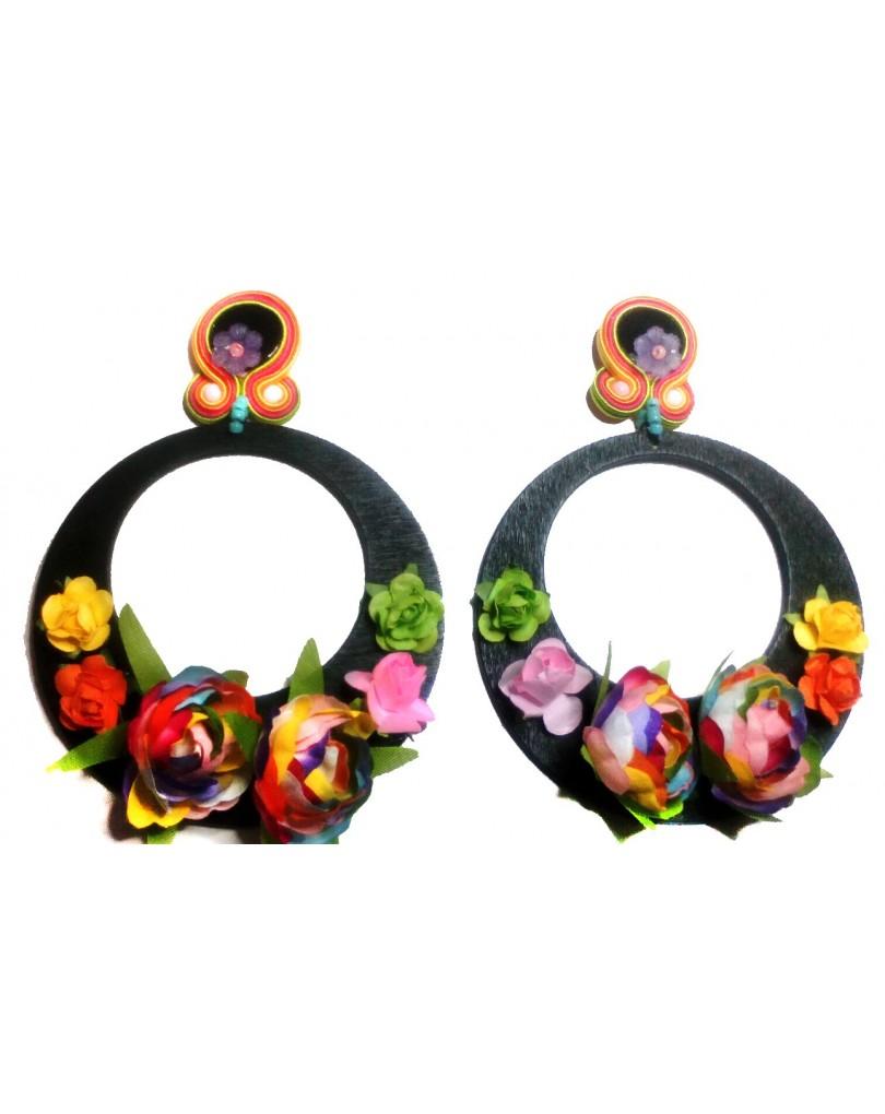 Pendientes flamenca de aro con flores pendientes flamenca y pendientes - El jardin del deseo pendientes ...