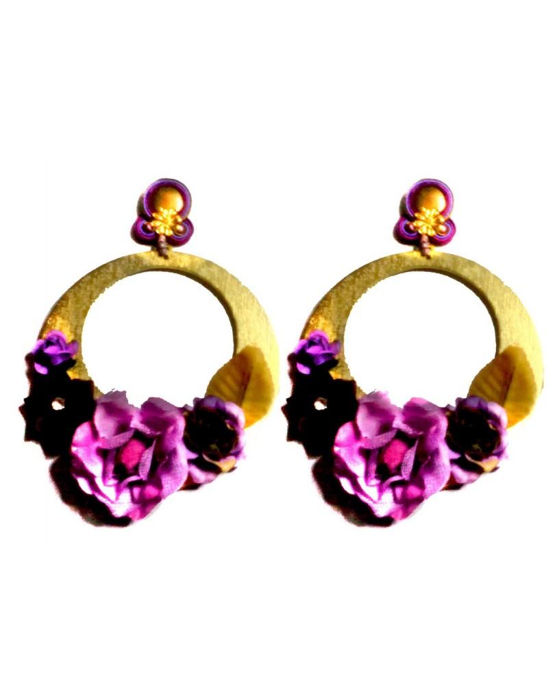 2109917b1 Pendientes Flamenca de Aro con Flores Tonos Nude | Pendientes Flamenca