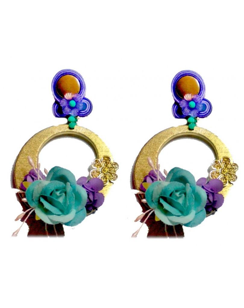 Pendientes flamenca de aro con flores tonos turquesa pendientes flamenca - El jardin del deseo pendientes ...
