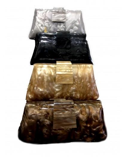 CLUTCH, BOLSO CAREY REDONDEADO MEDIANO, 22 x 11 x 5 cm
