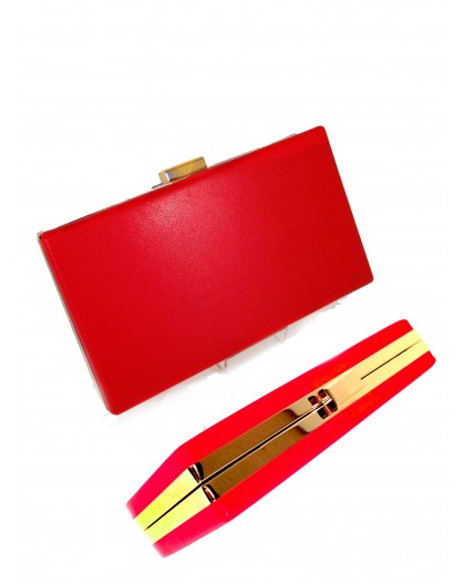 BOLSO FIESTA CLUTCH RECTANGULAR COLOR ROJO, MEDIDAS:18*10*3.5CM