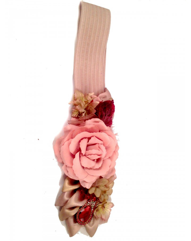 nuevo producto bd35a 19ab3 Cinturon Elastico para Boda de Flores, en Rosa Maquillaje | Cinturones