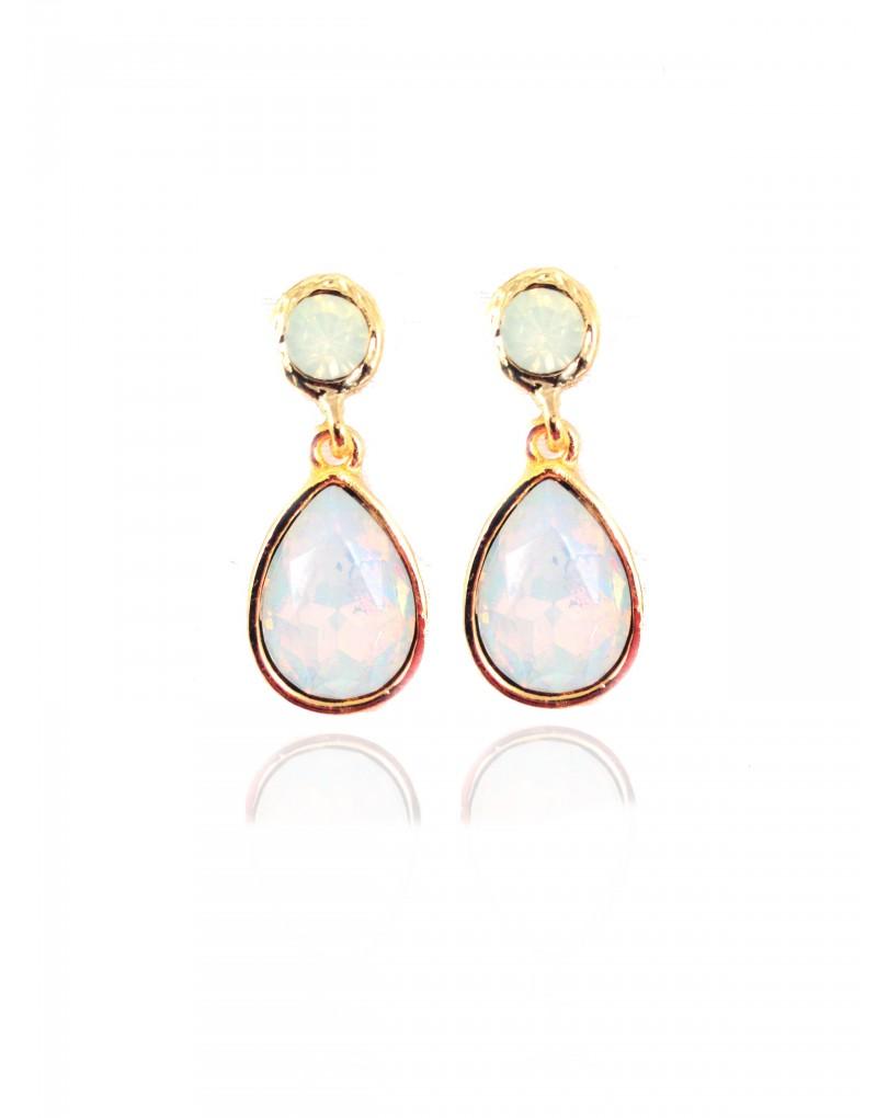 Pendiente cristal opal con ribete dorado color blanco for El jardin del deseo pendientes