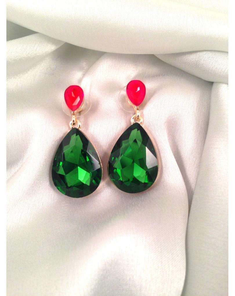 1807069e6ecd Pendientes Bisuteria Fina Forma de Lagrima Color Verde Esmeralda y Rojo con  Cristales Austriacos