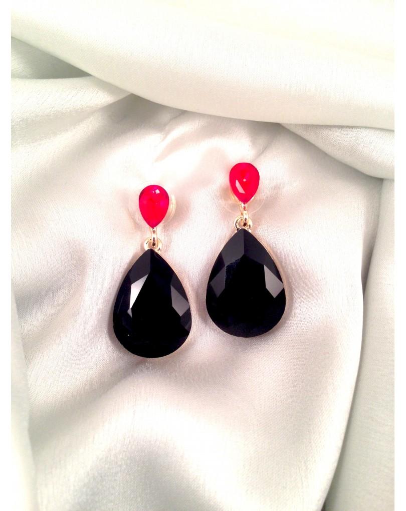 1dfe4a4f86ff Pendientes Bisuteria Fina Forma de Lagrima Color Negros y Rojo con Cristales  Austriacos