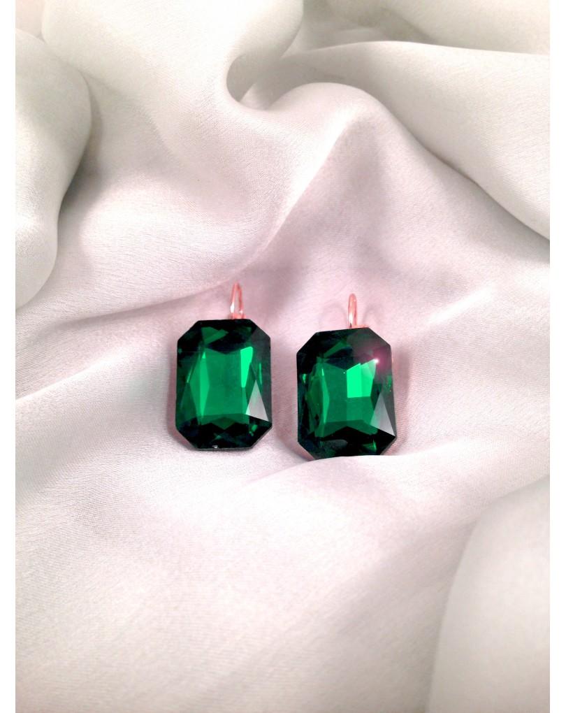 e2e34c12e3a9 Pendientes de Fiesta Bisuteria Fina Cristal Tallado Rectangular Color Verde  Esmeralda