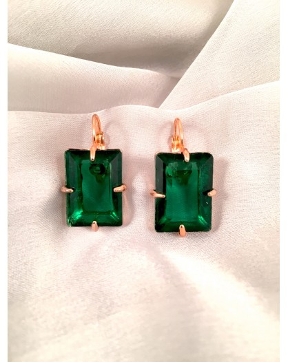 PENDIENTES CRISTAL FORMA RECTANGULO COLOR VERDE