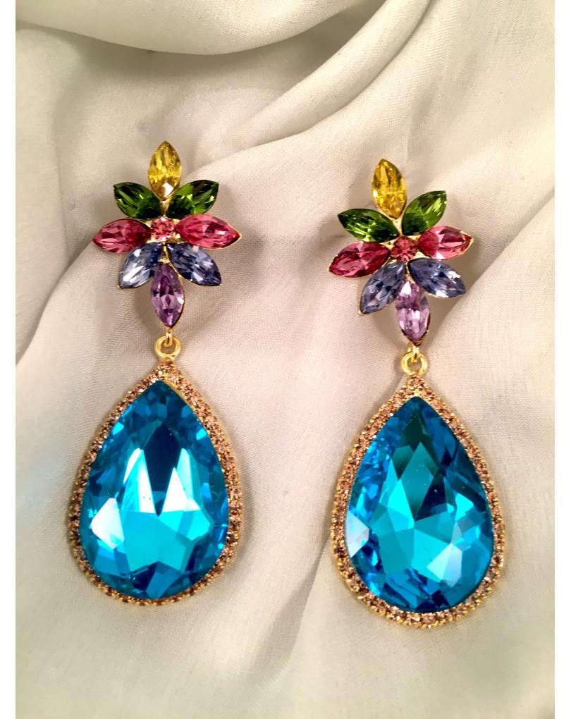 77b8b3c71933 Pendientes Largos de Fiesta Lagrima Azul de Cristal