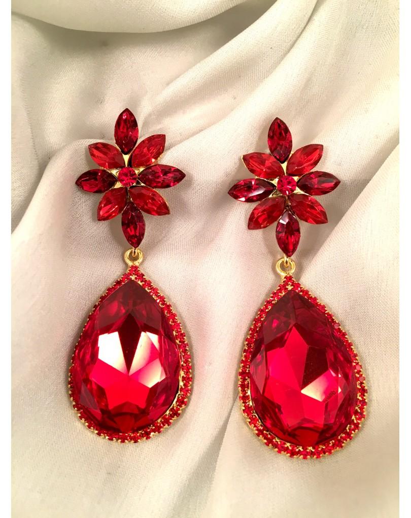 61101109a789 Pendientes Largos de Fiesta Lagrima Color Rojo de Cristal