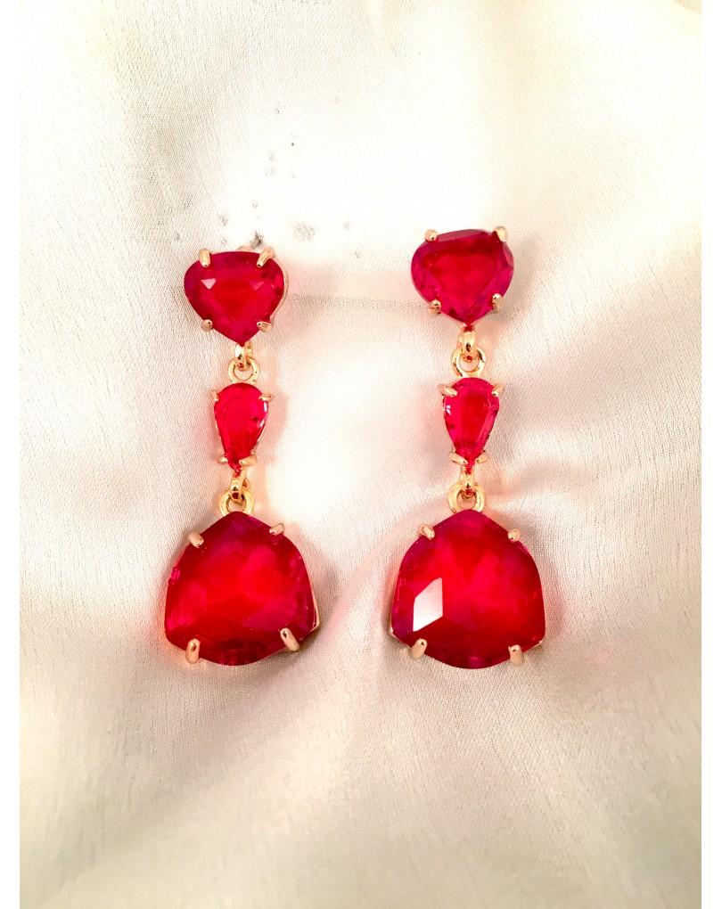 Pendientes largos rojos en cristal tallado pendientes y bisuteria - El jardin del deseo pendientes ...