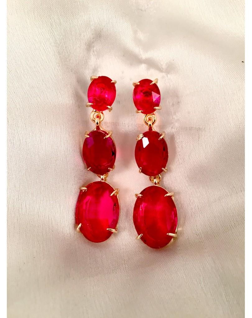 603f76570cd4 Pendientes Largos Rojos con en Cristal Tallado