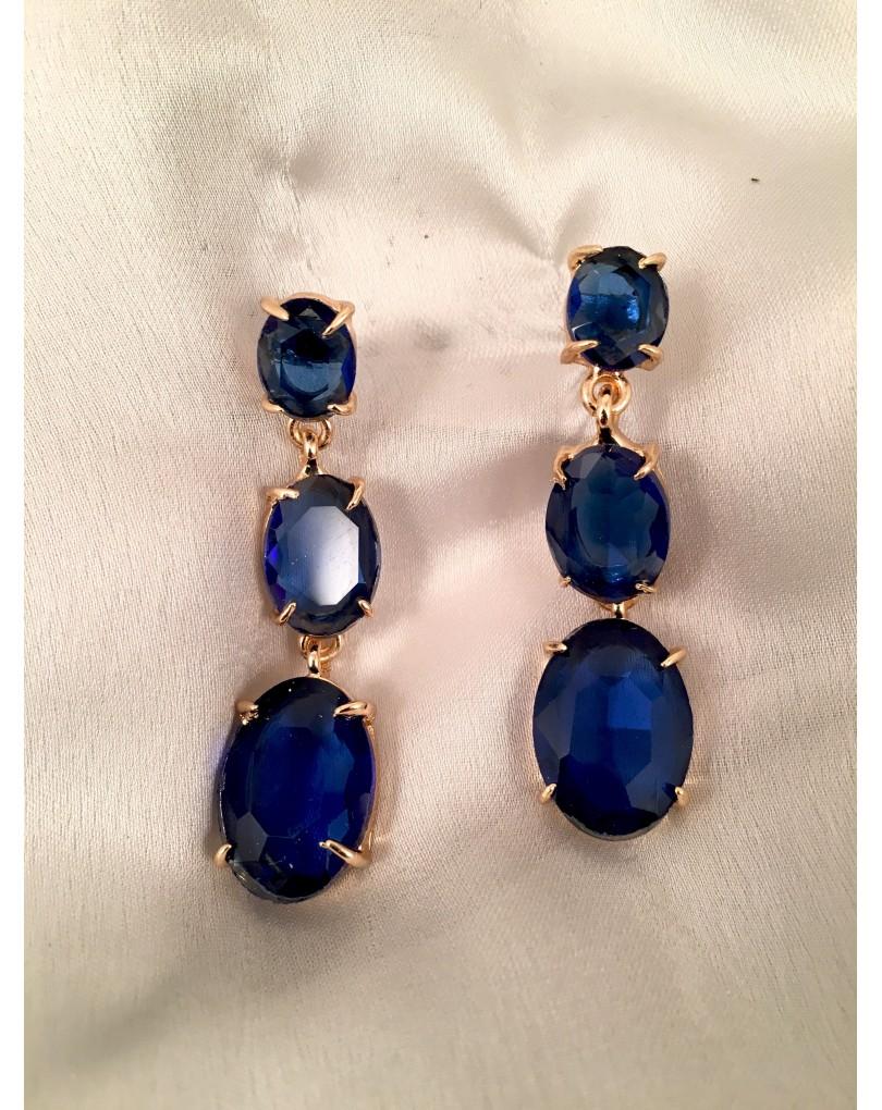 Pendientes largos azul con en cristal tallado pendientes y bisuteria - Fotos de pendientes ...