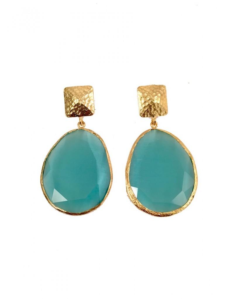 3c6256ed9d04 Pendientes Piedra Natural Color Azul Turquesa