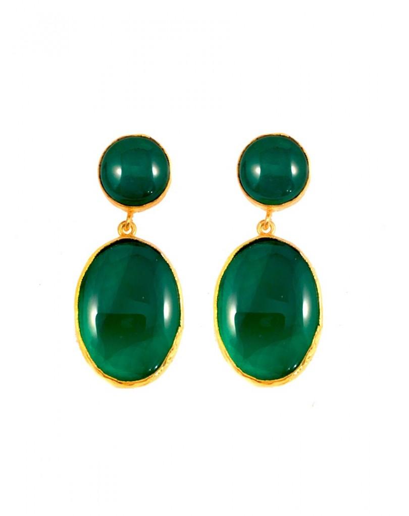 6af16b497797 Pendientes de Bisuteria en Piedra Natural Color Verde Esmeralda ...