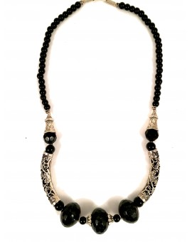 COLLARES NEGROS PIEDRA NATURAL, ONIX