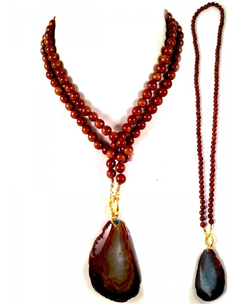 21b2e553369d Collar de Agata con Dos Dos Posiciones Largo y Corto
