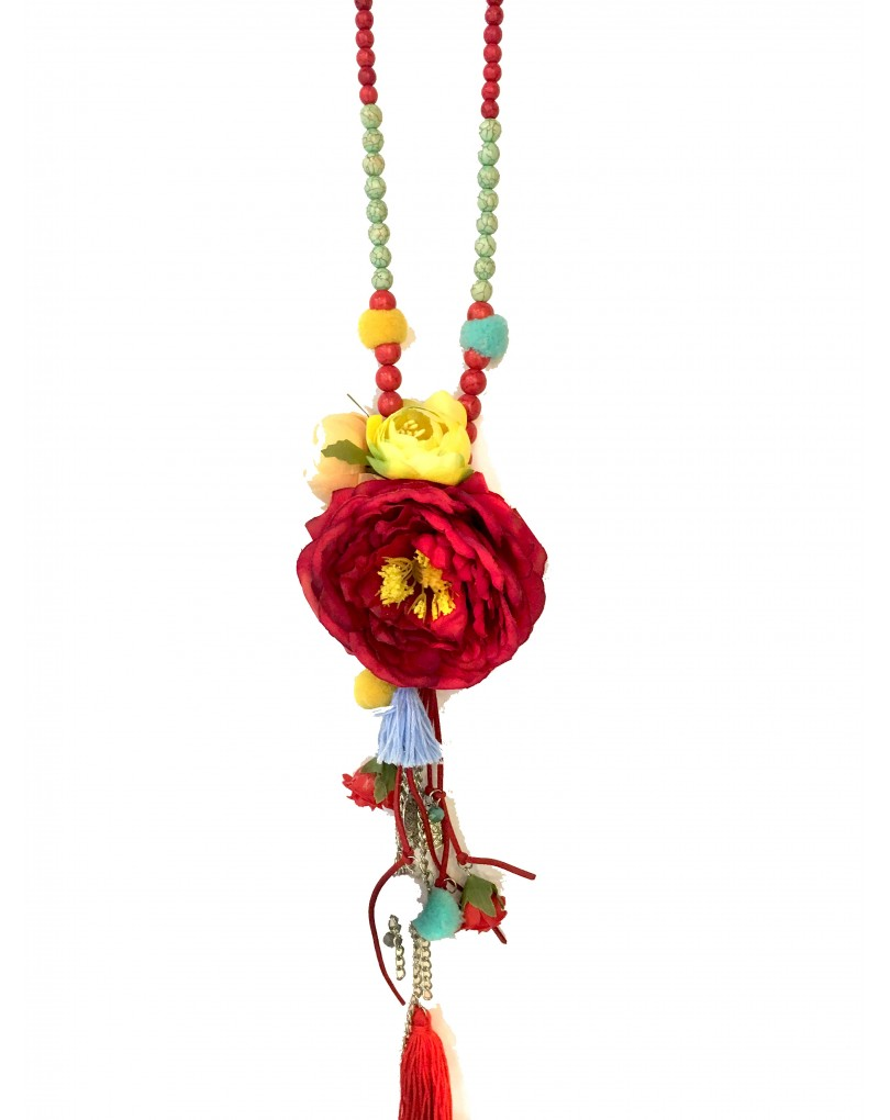 1692291185f9 Collar Largo con Flores de Tela
