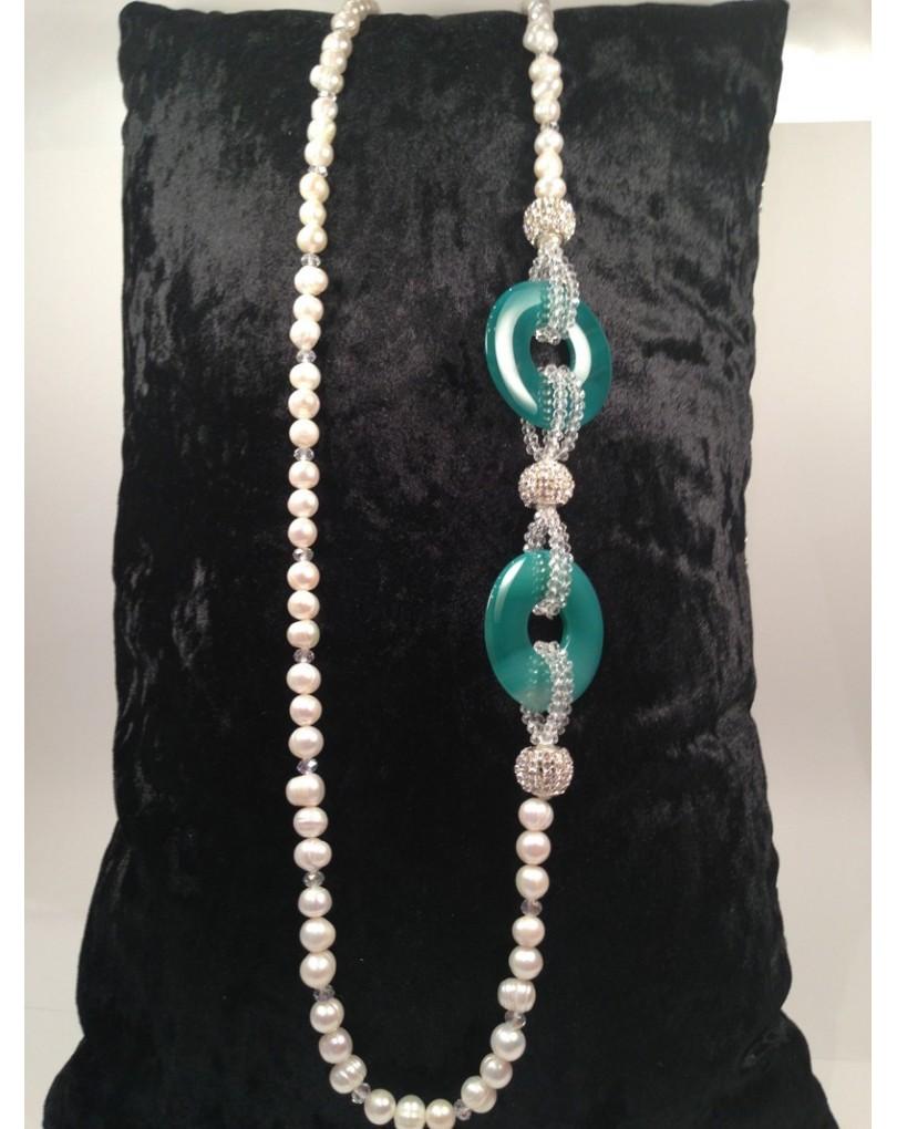 a3f3b26cb3e1 Collar de Perlas Discos Verdes
