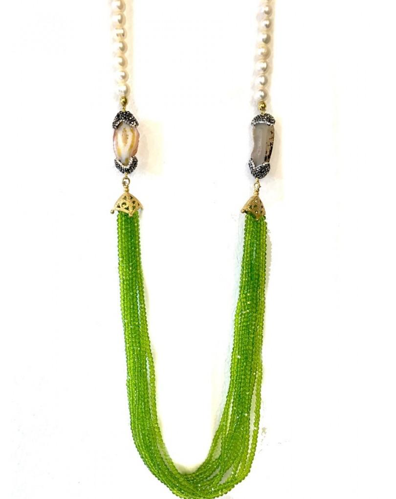 d00233808055 Collares Largos Originales de Perla Piedra y Cristal Color Verde Oliva