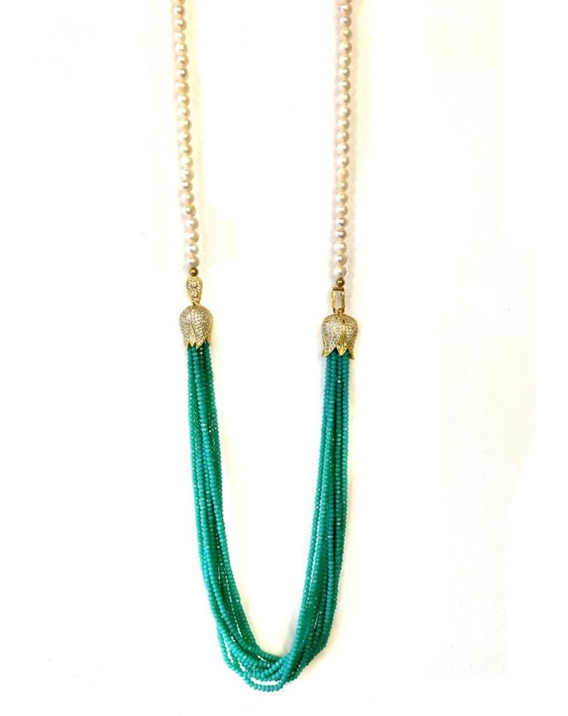 Collares largos de alta bisuteria en perla y cristal con for El jardin del deseo pendientes