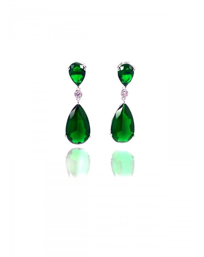 pendientes verde esmeralda