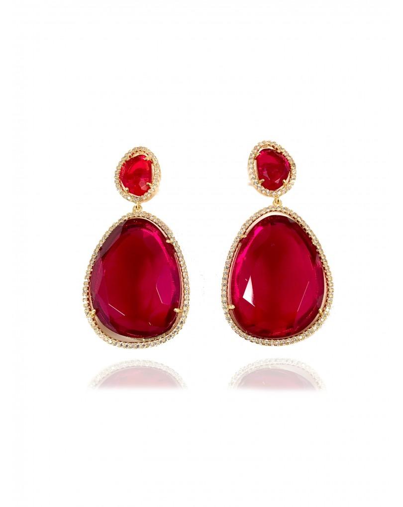 edc89979e3ec Elegantes Pendientes de Bisuteria Fina con Circonitas Engastadas Color Rojo