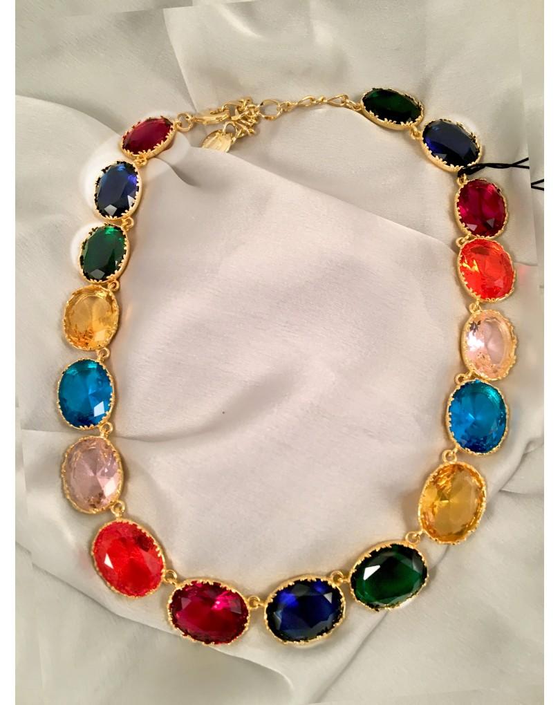 99cab25d1535 Bisuteria Fina- Gargantillas de Cristal Multicolor y Baño Oro ...