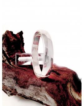 PULSERA DE PLATA MUJER, MEDIA CAÑA   - (DIAMETRO: 6-6,5 cm)