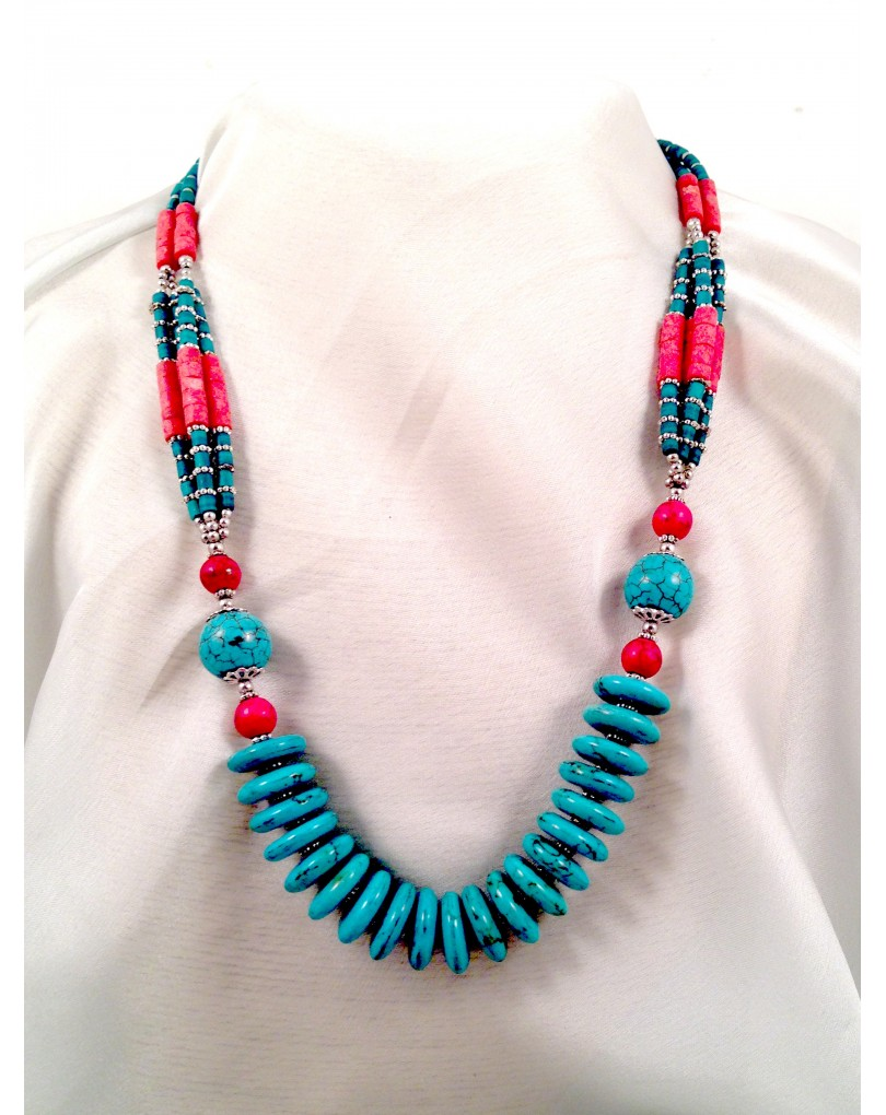 a78d4ff9ddf3 Collar de Turquesa y Coral Largo 50cm