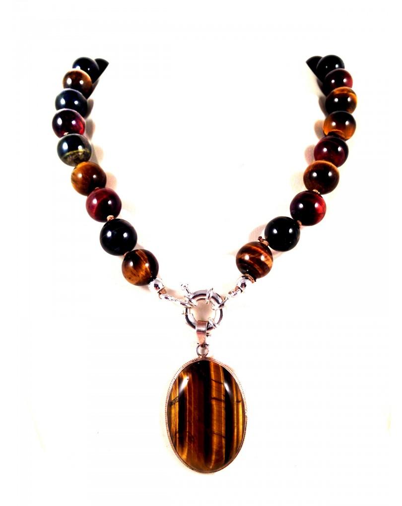 3ccb7880871d Collar de Piedra Natural Ojo de Tigre con Colgante de Plata, Medidas: Largo  Collar 50cm, Colgante 4*cm