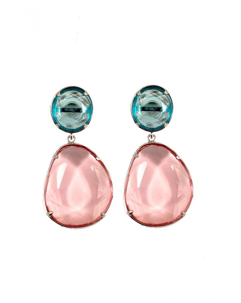 Pendientes largos de cristal en color agua marina con rosa pendientes - El jardin del deseo pendientes ...