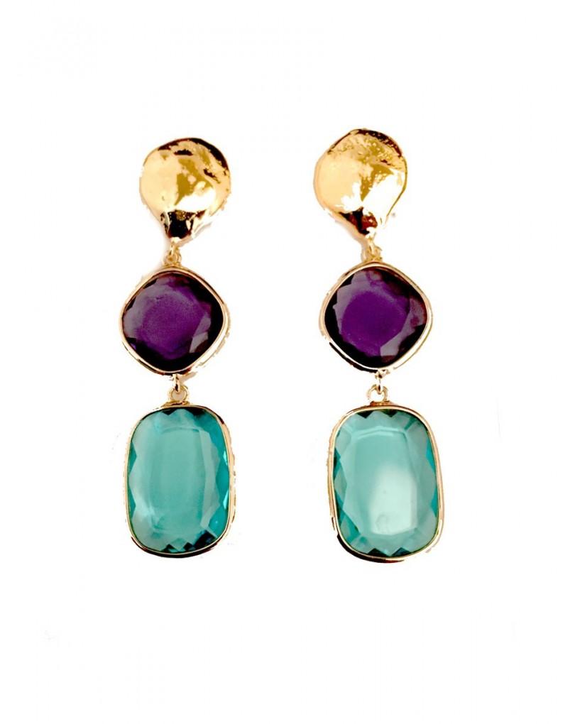 5ecfe157a456 Pendientes de Cristal Azul y Morado