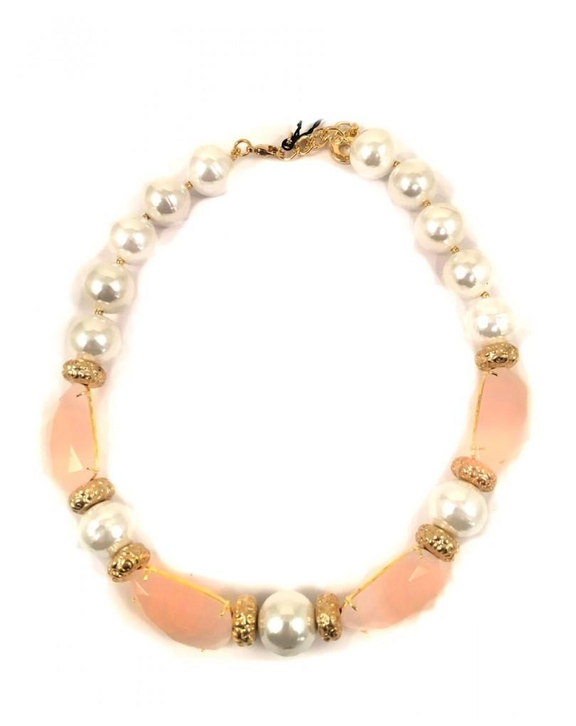 8ab18f908601 Collar de Perlas y Cuarzo Rosa