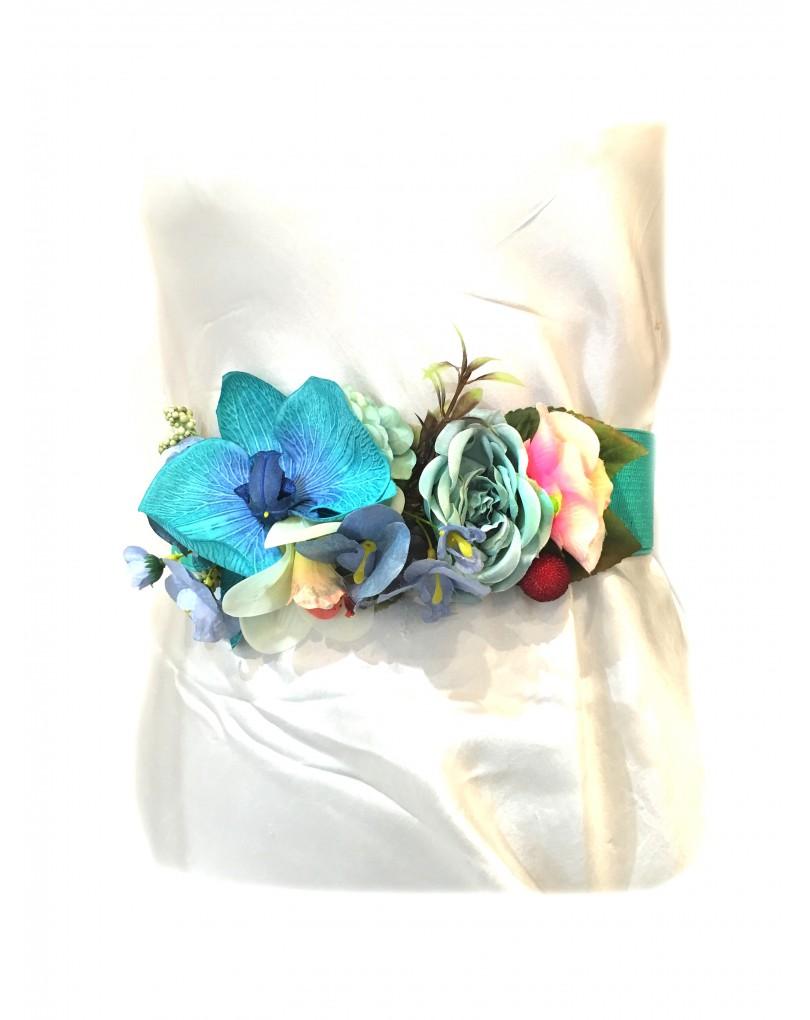 Cinturones de Vestir con Flores Turquesa  974915e5a725