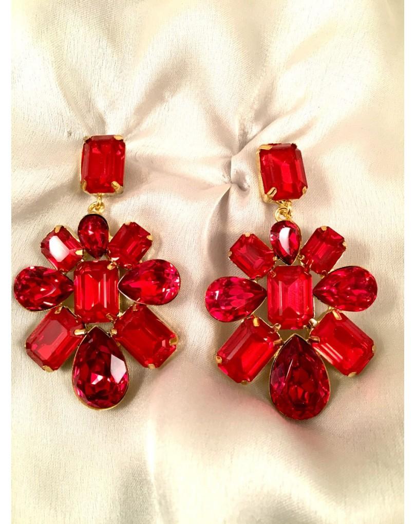 c01f229df4ee Pendientes Largos Rojo de Fiesta