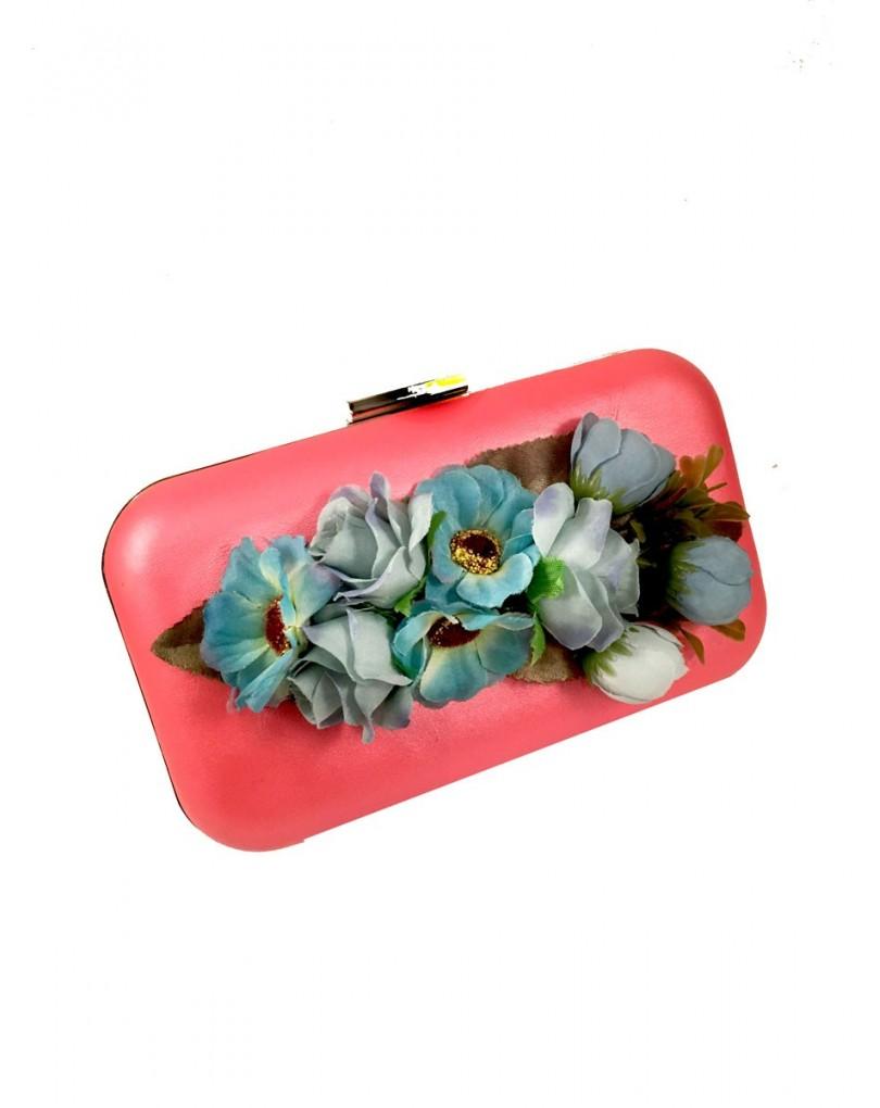 7a5af3bfb Bolsos de Fista Originales con Flores Color Coral y Turquesa ...