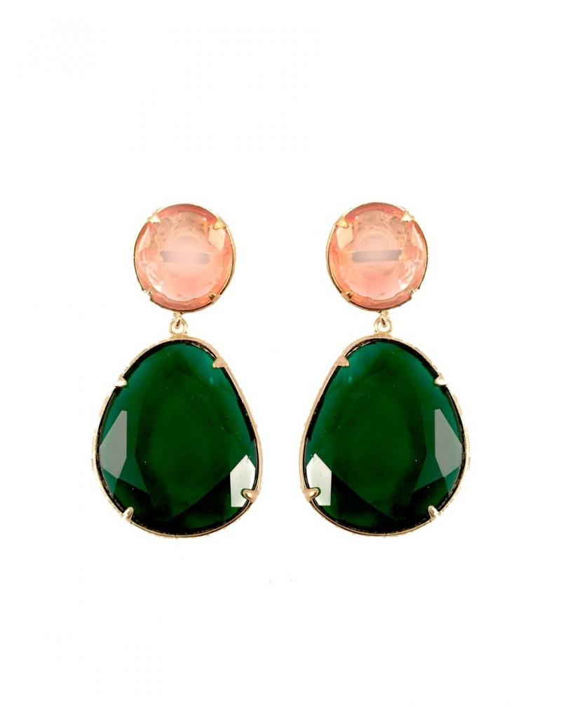 6c118d9f4a53 Elegantes Pendientes de Fiesta en Cristal Color Rosa y Verde ...