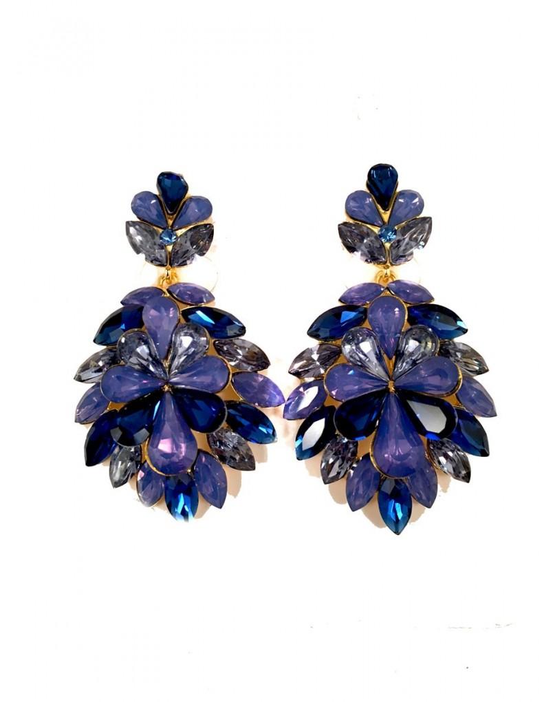 c266cbbdcfe1 Pendientes Azul Largos de Fiesta Cristal Tallado (mas Colores ...