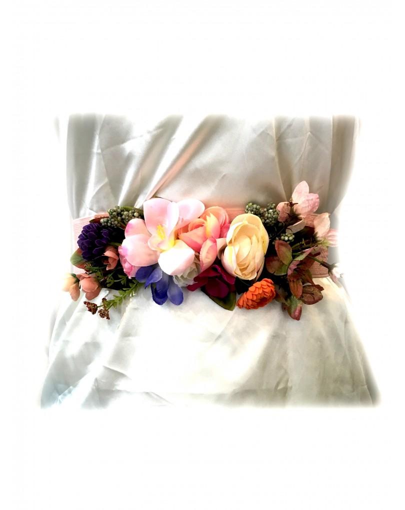 Cinturones de Vestir con Flores Rosa Palo  f79ec13a9daa