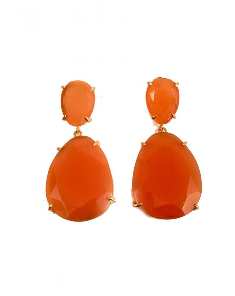 Pendientes de piedra color naranja pendientes y bisuteria - El jardin del deseo pendientes ...
