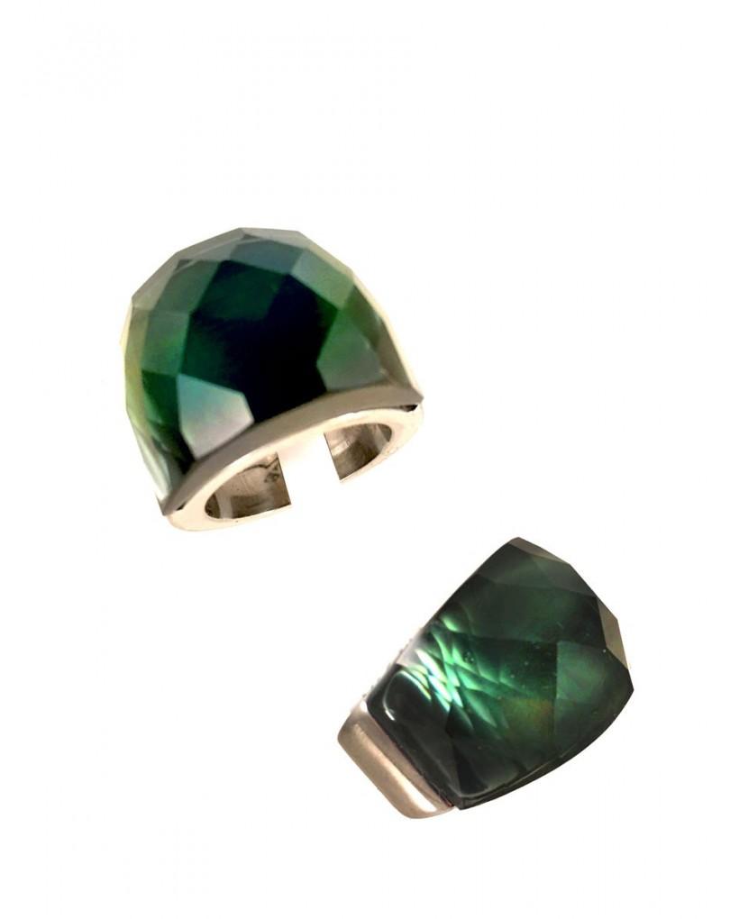 ef29eb77452d Anillos de Acero con Cristal de Color Gris Verdoso