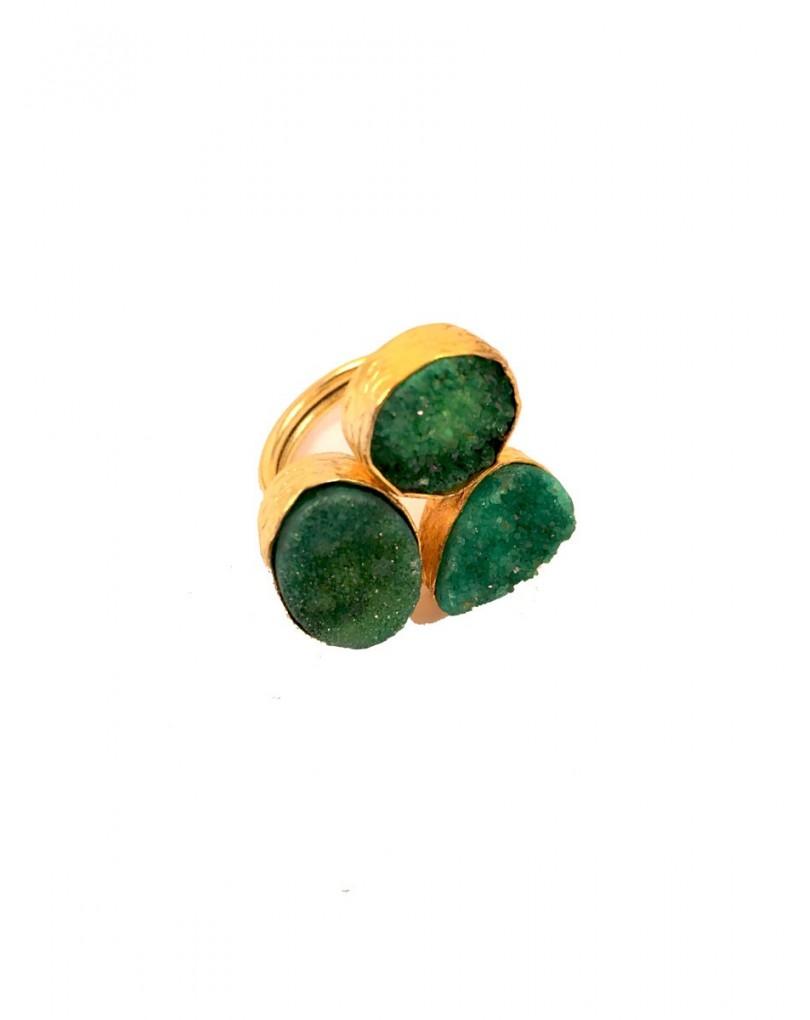 77ed1752b178 Anillo Verde Tres Piedras Drusas