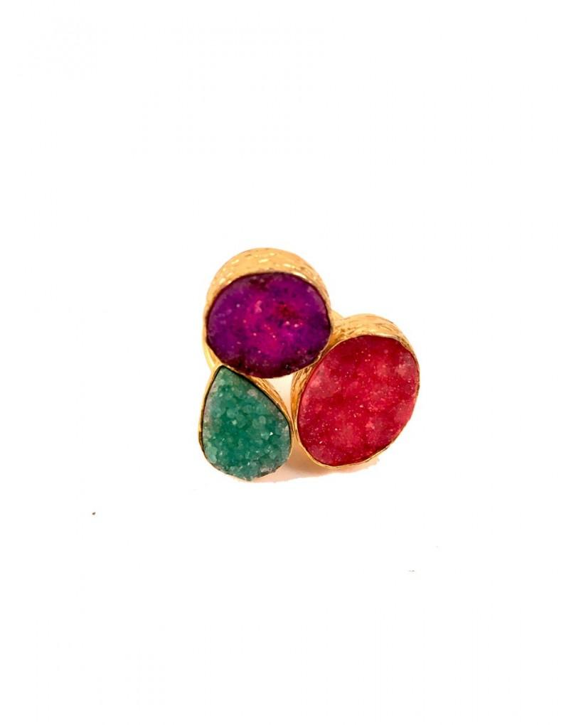 b2325b3b9c98 Anillo Multicolor Tres Piedras Drusas