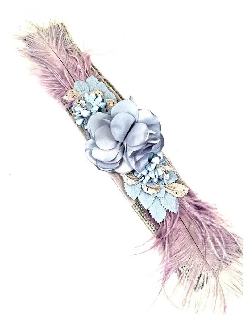 Cinturon Flores y Plumas Elastico  2122535d226e