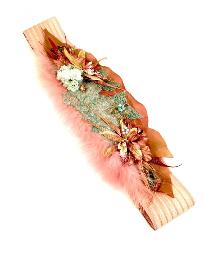 Cinturon de Flores y Plumas Fajin Elastico  c650e2fbdd5d
