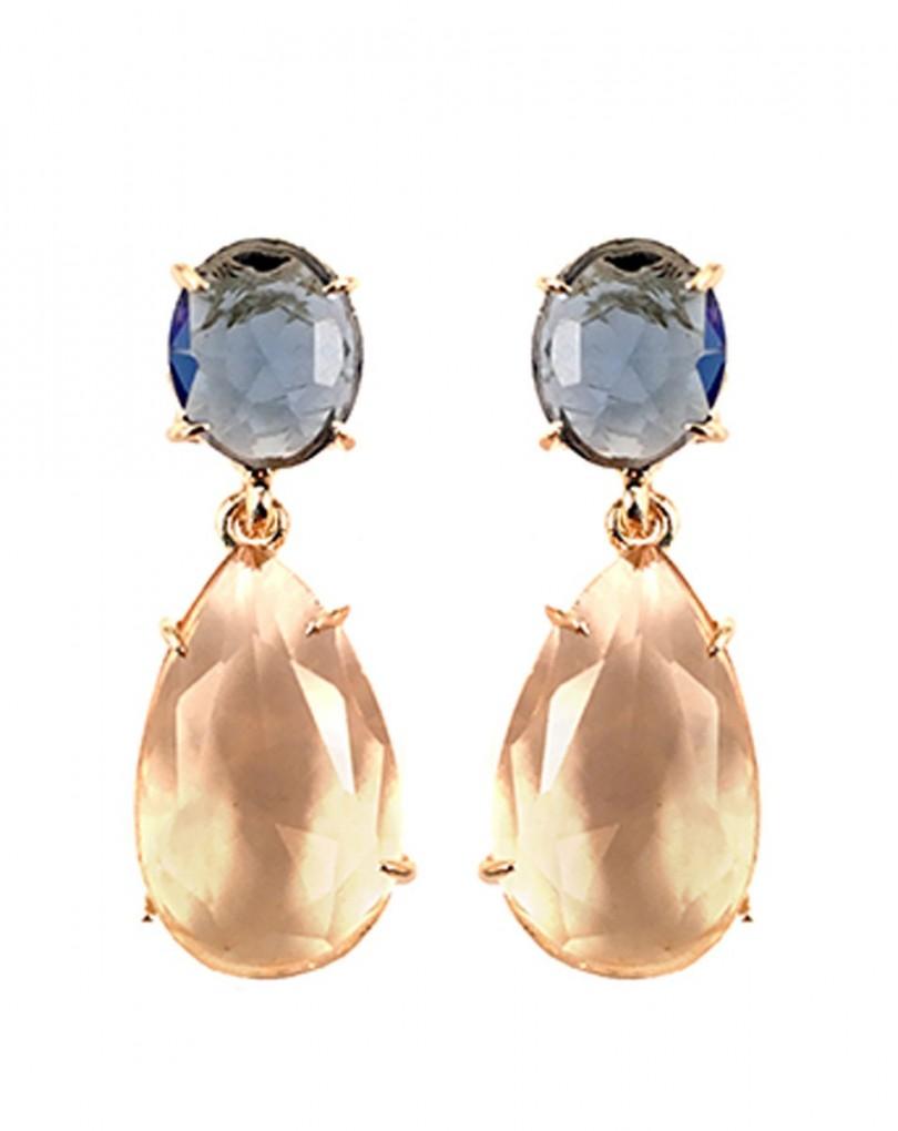 0562e1d80056 Pendiente de Bisuteria Cristal Azul y Dorado