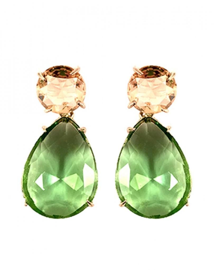e362e5e7cad6 Pendiente de Bisuteria Cristal Verde y Dorado